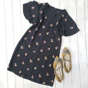 Ann Taylor Flutter Sleeve Dress